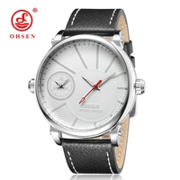 OHSEN Casual Fashion Male Business White Clock Quartz Watch Man Men Wristwatch Leather Strap Reloj Masculino