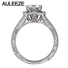 Lab Grown Moissanites Rings For Women Hexagon Baguette Diamond 14K White Gold Ring Pink Sapphire Engagement Anniversary Ring