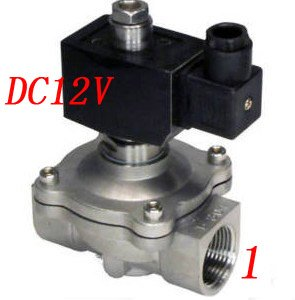 цена на Free Shipping 5PCS/Lot 1'' 2 Way Normally Open Industrial Stainless Steel Solenoid Valve VITON DC12V