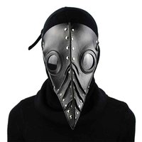Black PU Leather With Rivet Retro Gothic Long Beak Plague Doctor Mask Steampunk Bird Mask Cosplay Halloween Costume Accessories