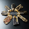 Crazy hot!! natural black tourmaline mineral pendants with 24k gold plated on edged, raw mineral stone pendants