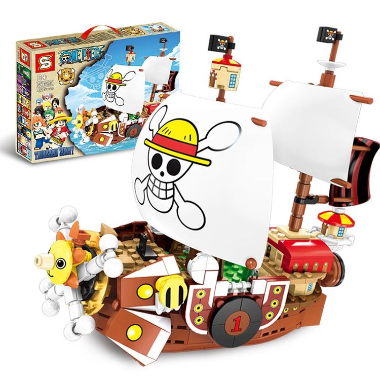 Sy6299 um pedaço ensolarado navio pirata macaco d luffy blocos de construção brinquedos educativos compatíveis com legoings anime