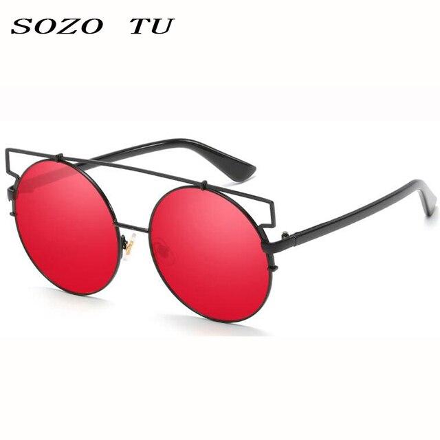082da958e6 SOZOTU Redondo gafas de Sol Lentes de Espejo de Marco Rojo Hombres Mujeres  Versa gafas de