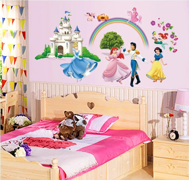 Princess Party Castle Vinilo Wall Sticker Decal Baby Girl Kids Room Children Bedroom Wallpaper Poster Home
