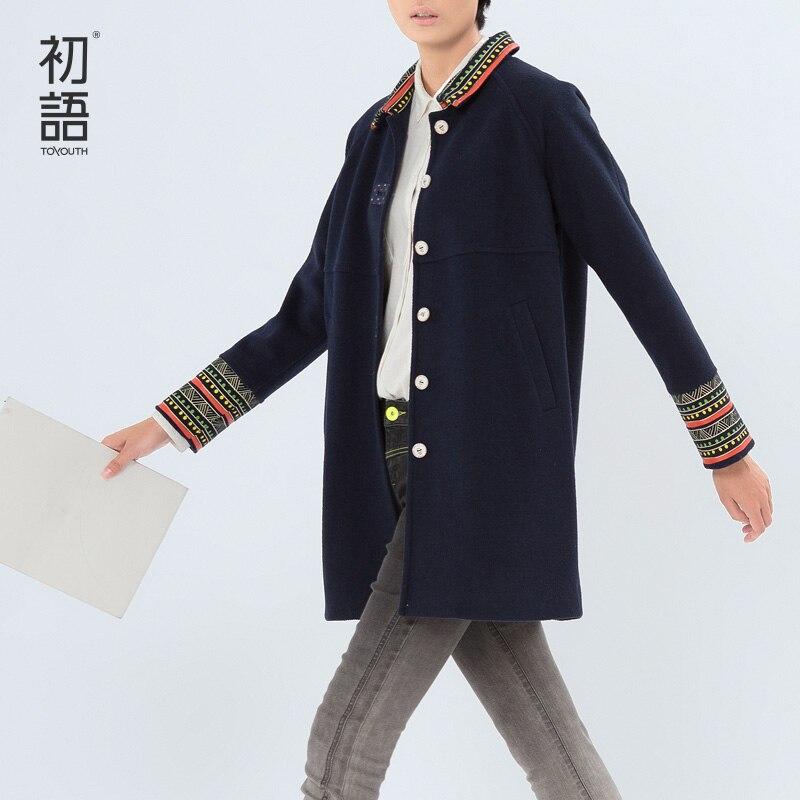 Toyouth Новинка 2017 года зимнее пальто Для женщин шерстяные Outwears отложным воротником Подпушка контраст Цвет широкий талией Однобортный пальто