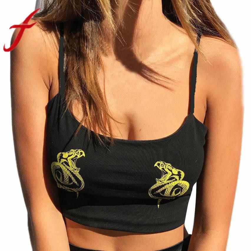Feitong verano Sexy Crop top para mujer correas sin mangas Camis patrón dragón Fitness Tight tanque camisetas recortadas Feminino 2019 nuevo