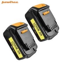 Powtree 2Pcs 6.0Ah For DeWalt Battery 18V/20V DCB200 Rechargeable Power Tools Battery For DCB181 DCB182 DCB204 DCB101 DCF885 high quality 20v 4000mah power tools batteries for dewalt dcb181 dcb182 dcd780 dcd785 dcd795 charger usb power source