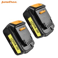 Powtree For DeWalt 20V 6000mAh 2PCS DCB200 Rechargeable Power Tools Battery Replacement DCB181 DCB182 DCB204 DCB101 DCF885