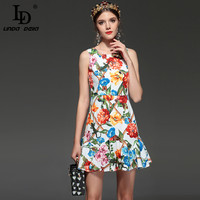 LD LINDA DELLA New 2018 Fashion Runway Designer Summer Dress Women S Sleeveless Casual Elegant Floral