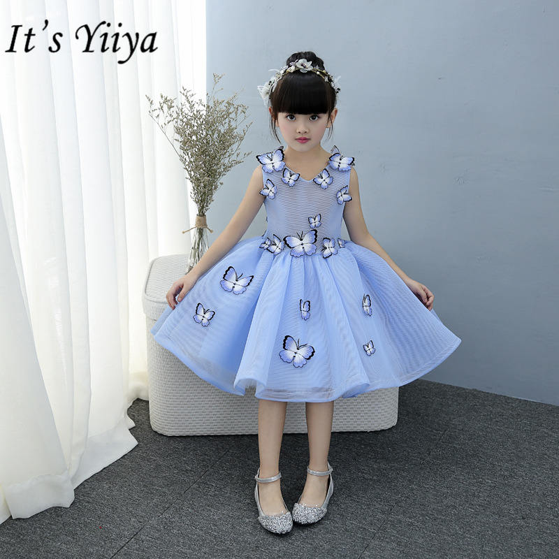 It's yiiya Fashion Butterfly Flower Girl Dresses Elegant O-neck Sleeveless Girl Dress TS214