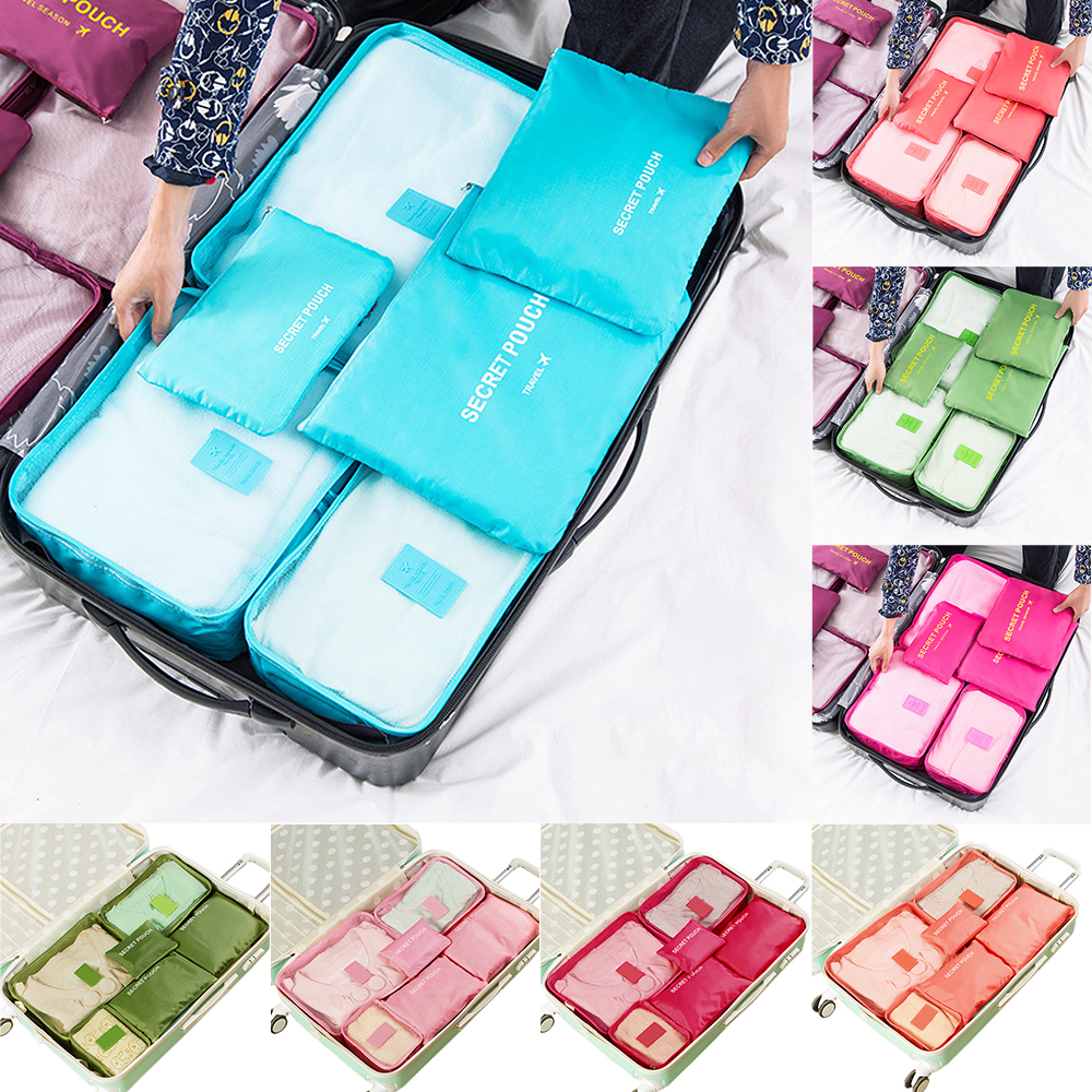 Waterproof Nylon Set Of 6pcs Travel Storage Bag Wardrobe Luggage Container Organizer For Clothes Underwear Shoes Partition