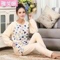 Nuevo Otoño/invierno pijamas de franela engrosamiento de las mujeres ropa de noche fija dulce muchacha mujer flores de impresión Ropa Interior Traje de Casa