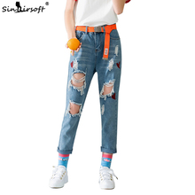 Hole Ripped Jeans For Women Woman Ladies Loose Large Size Fashion Nine Points Print Blue Denim Trousers Hot Pants