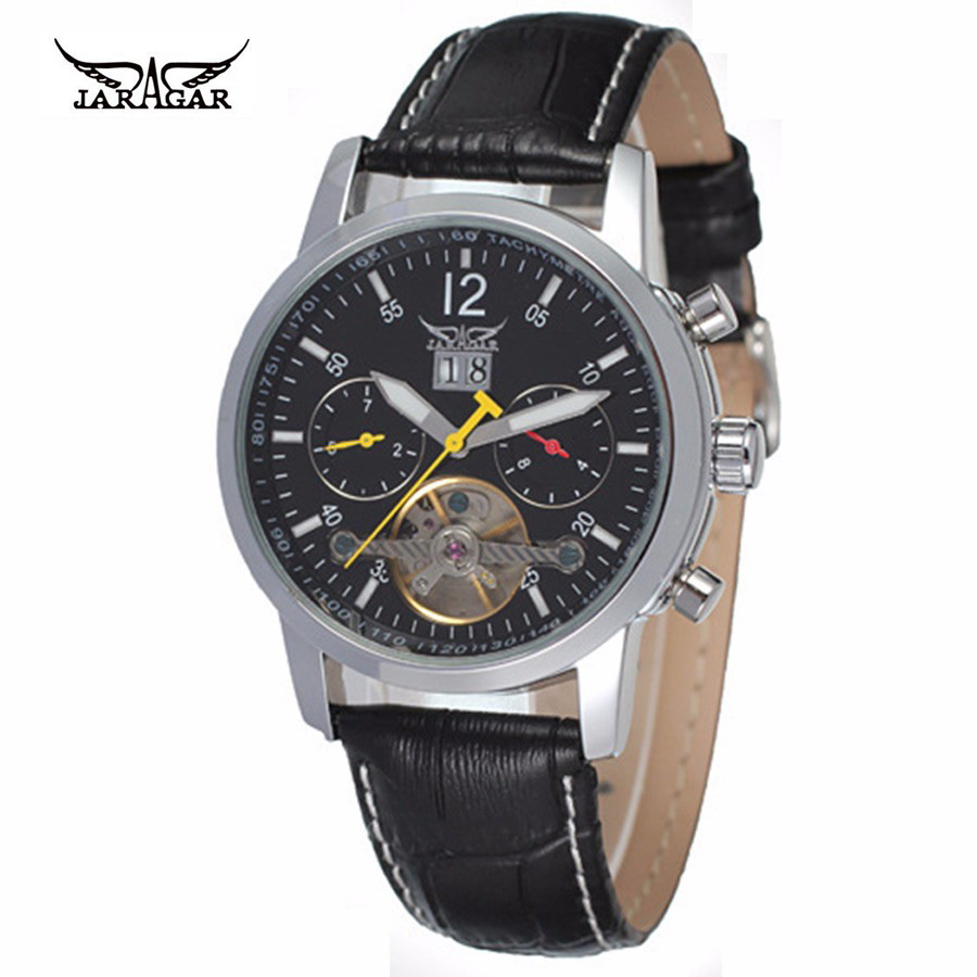 Original JARAGAR Automatic Mechanical Tourbillon Watches Men Leather Strap Luxury Self-Wind Men Skeleton Wristwatch Male Clock forsining latest design men s tourbillon automatic self wind black genuine leather strap classic wristwatch fs057m3g4 gift box
