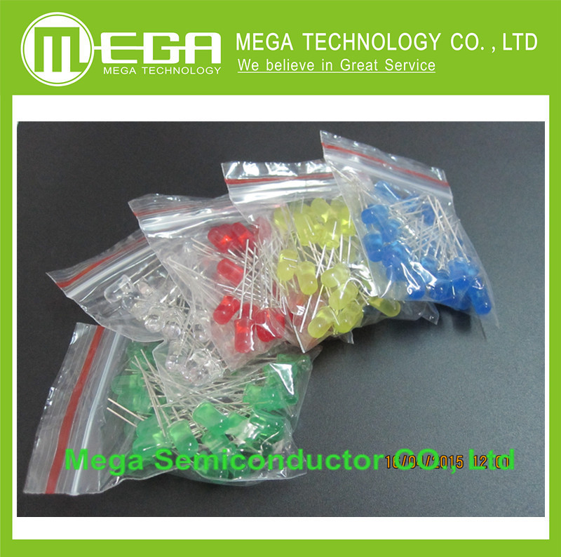 5Values X10pcs= 50pcs 3mm/5mm Red/Yellow/Green/Blue/White Round Led Diode Mixed Color Kit