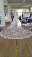 Benzersiz tasarım nakış dantel 3 metre genişliğinde 4 metre uzun beyaz gelin peçe fildişi tül bir katman el yapımı gerçek resimler 2017