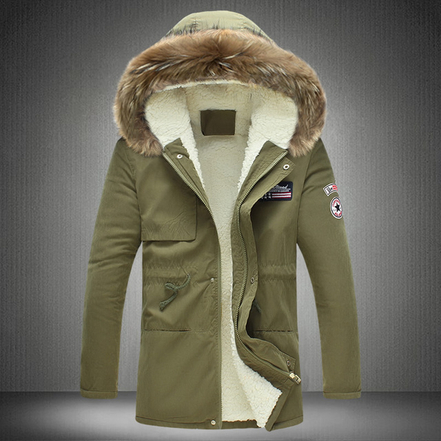 Fashion military style epaulet and badge embroider jacket men thicken fleece warm winter coat men 4-colors size m-5xl MF11
