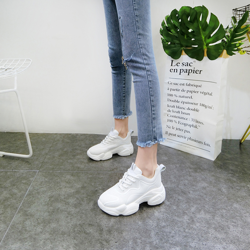 Women White Sneakers 2019 Spring Autumn Breathable Mesh Chunky Sneakers For Woman Casual Lace Up Female