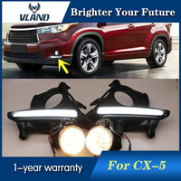 2pcs White Daytime Running Lights For Toyota Highlander 2014 2015 Daylight 12V 6000k DRL Fog Lamp
