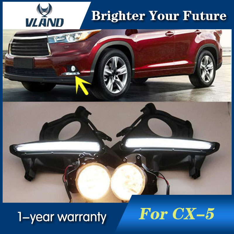 2pcs White Daytime Running Lights For Toyota Highlander 2014 2015 Daylight 12V 6000k DRL Fog Lamp ...