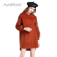 Women S Floral Embroidered Hoody Mini Dress Loose Fit Long Lartern Sleeve Thicken Casual Dresses Pullover