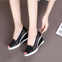 Fish mouth wedge sandals 2018 summer new women's shoes rhinestones OL hollow net shoes