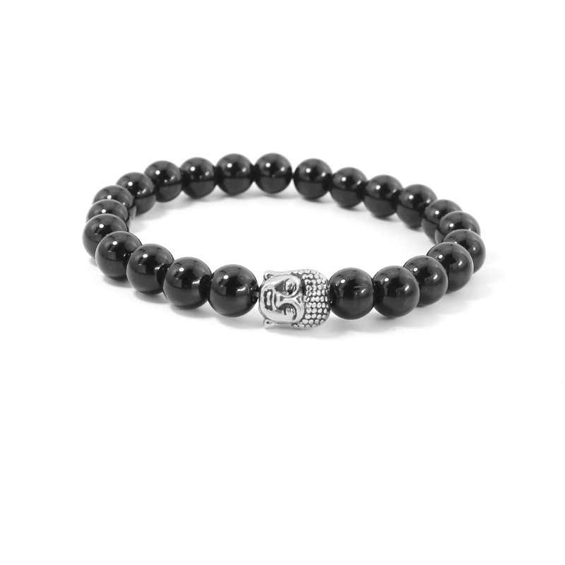 Natural Stone bead Buddha Bracelets For Women and Men,Silver Buddha, Black Lava bracelet,pulseras mujer