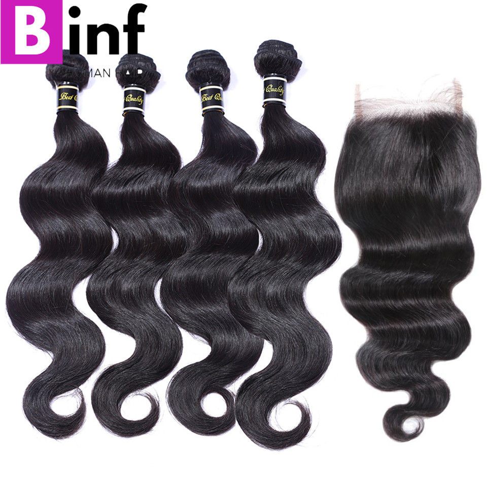 BINF Hair 4 Bundles With Closure Indian Body Wave Hair Natural Color Human Hair Bundles With Closure Free Shipping No Tangle