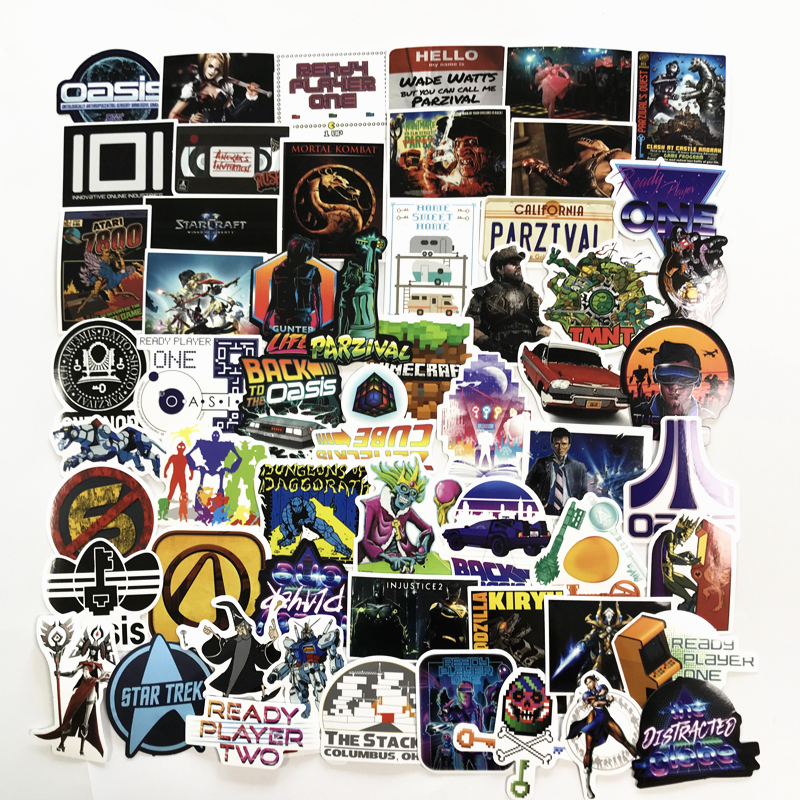 61Pcs/Lot Ready Player One stickers Classic Stickers Toy For Laptop Skateboard Luggage Decal Waterproof Funny Stickers For kid funny kid for president