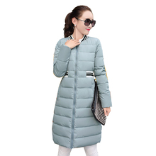 Fashion New Winter Long Down Cotton Jacket for Women Stand Collar Long Parka Warm Outerwear Coat Female Jaqueta Feminina YC550