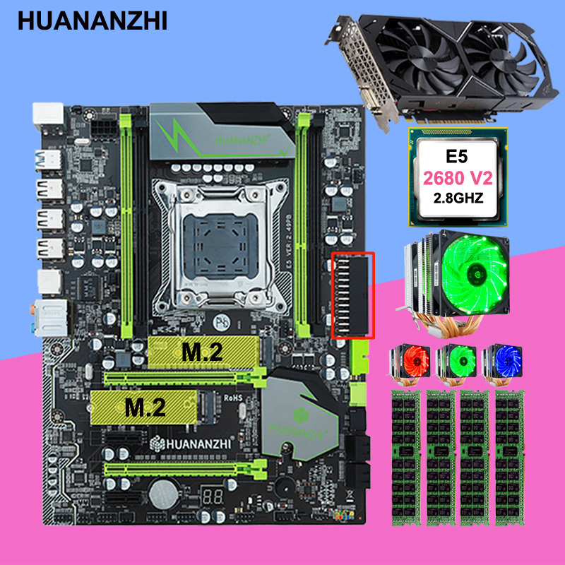 Discount Motherboard With DUAL M.2 Slot HUANANZHI X79 Pro Motherboard With CPU Xeon E5 2680 V2 RAM 32G Video Card GTX1050Ti 4G