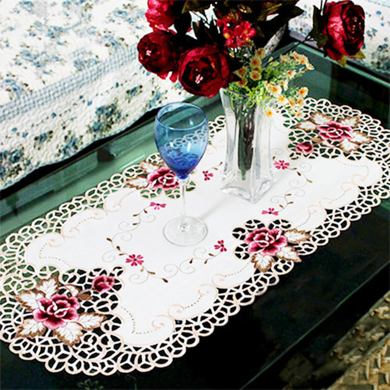 Oval Vintage Embroidered Lace Floral Table Cloth//Mat Decor Durable Hot Sale