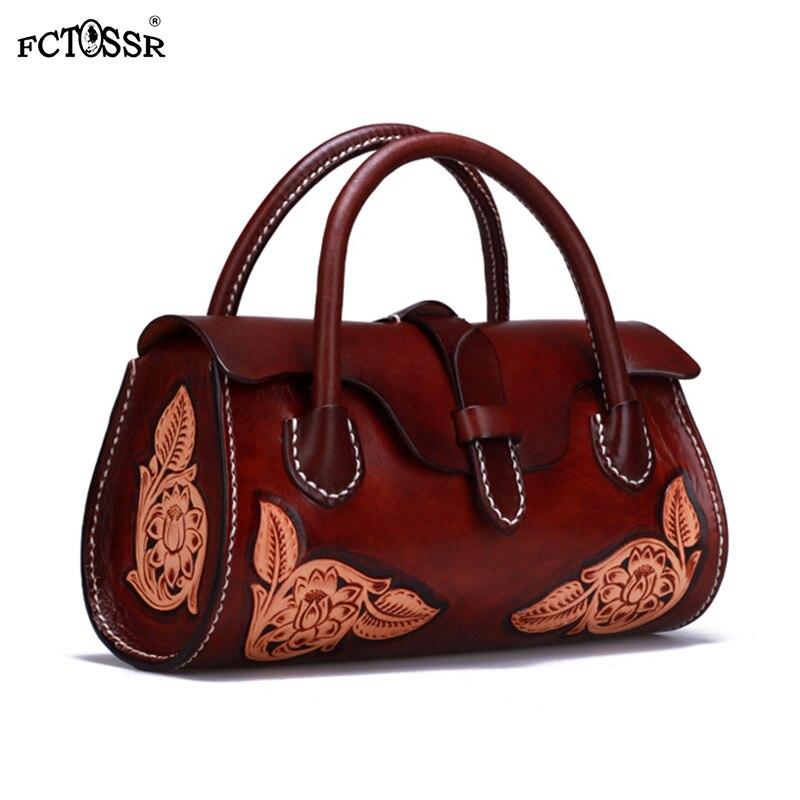 Chinois Vintage femmes sac de 2019 à la main sculpté fleur dame sac à bandoulière en cuir Design Original haute capacité femme sac à main