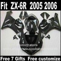 Подходит для Kawasaki ZX6R обтекатели 2005 2006 пластиковые кузов set 05 06 ZX 6R Ninja 636 все глянцевый черный обтекателя kit LK49