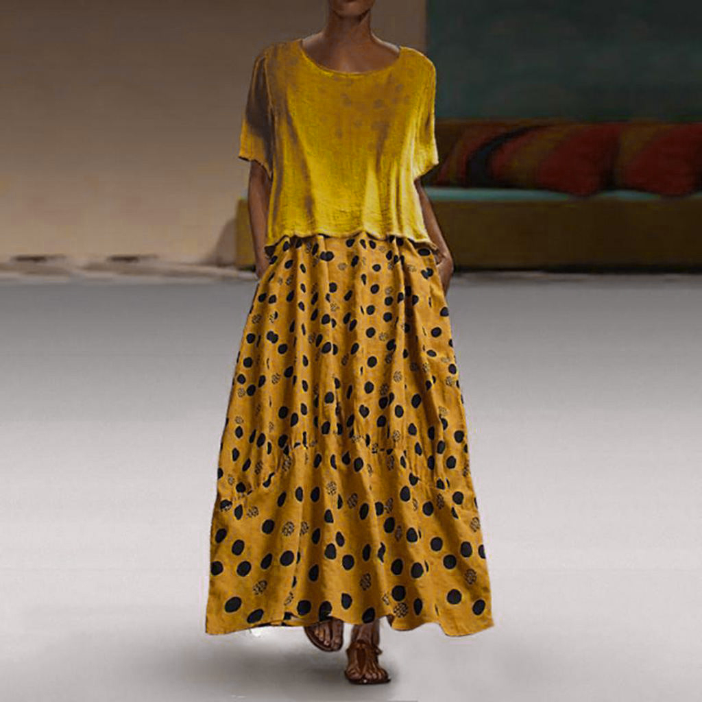 Women Dress set Ladies Beach Summer Loose Casual Fashion Cocktail Baggy Boho Party 2pcs Sundress Long Round Neck in Dresses from Women 39 s Clothing