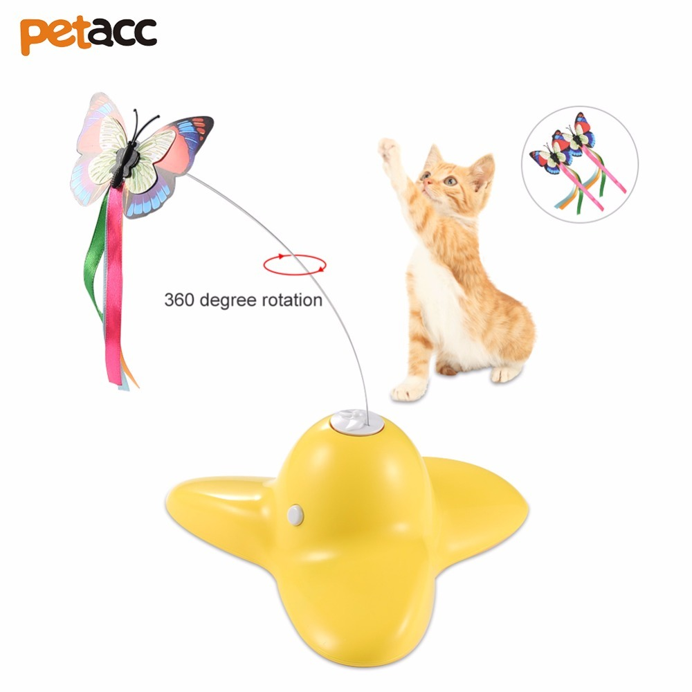 Petacc Electric Rotating Butterfly Cat Toy Fluttering Butterfly Cat Toy Beautiful Teaser Toy With Two Replaceable Butterflies