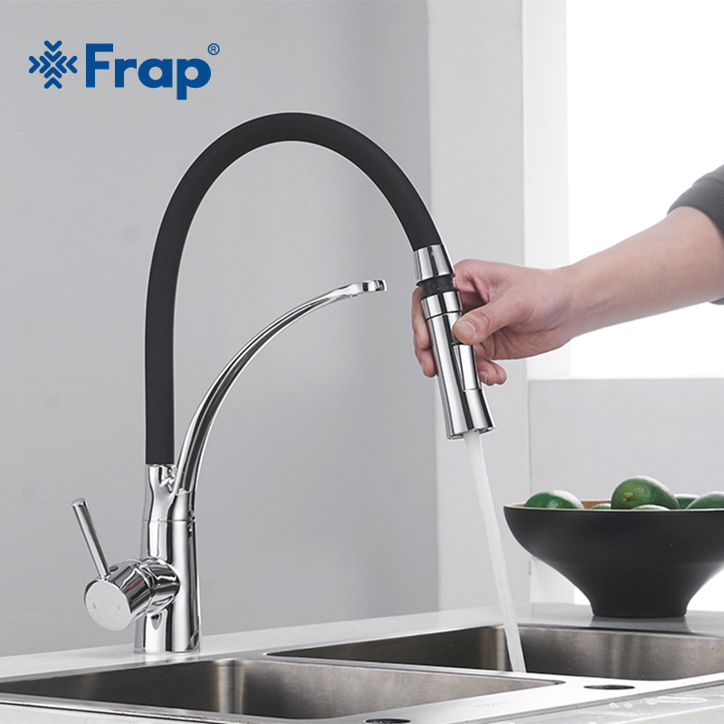 Frap New Kitchen Faucet Black Chrome Finish Dual Sprayer Nozzle Cold Hot Water Mixer Bathroom Faucet