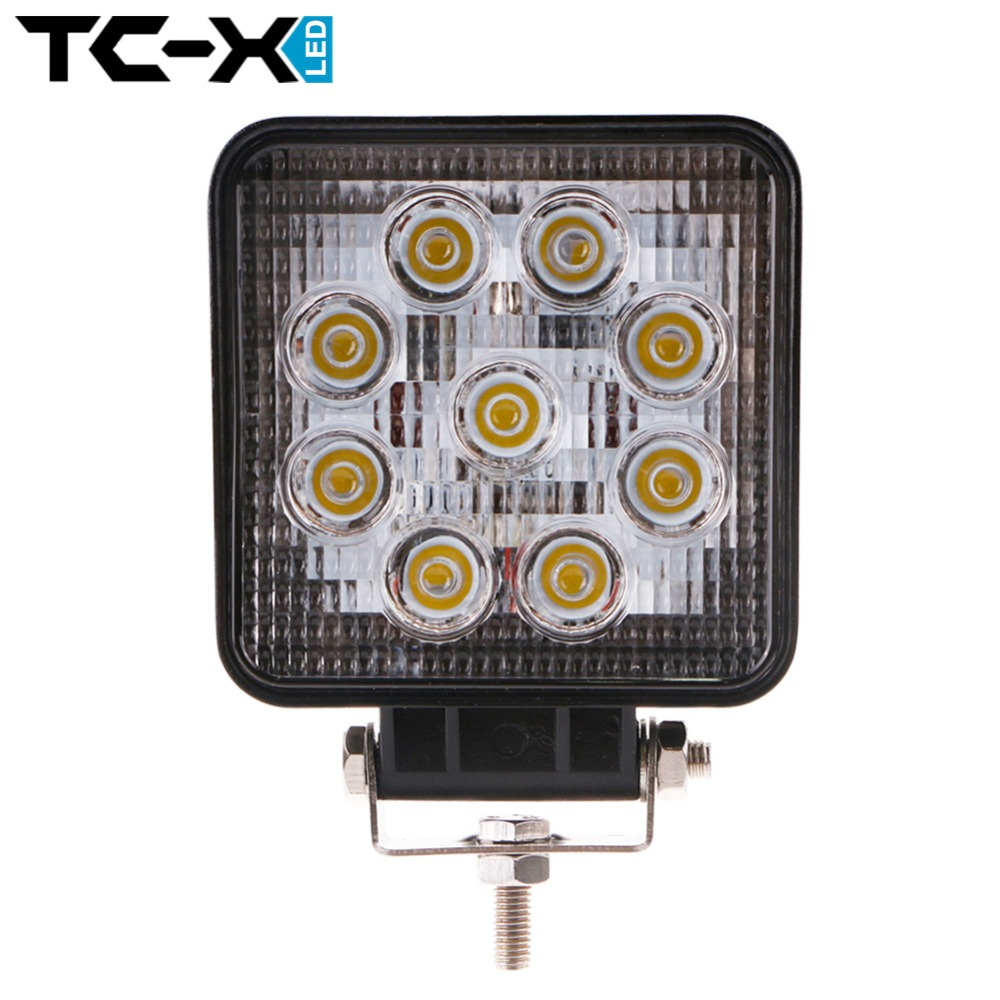TC-X 27W LED Work Light Flood 24V Square Off Road Car Working Lights 4X4 4wd Tractor Truck Trailer Worklights