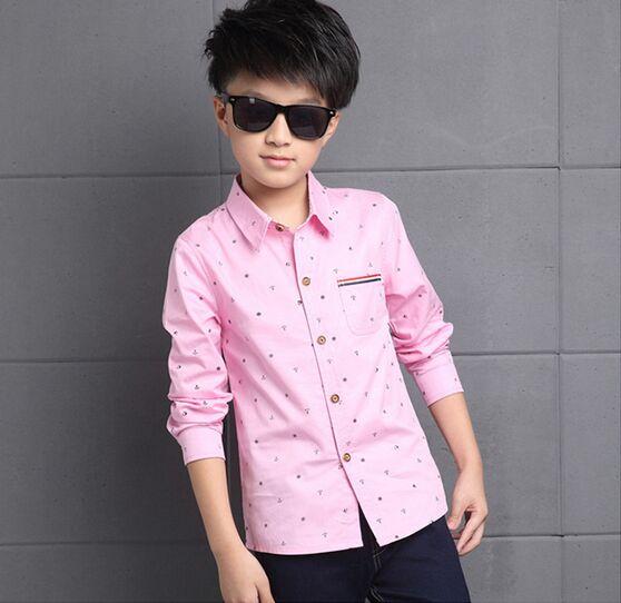 Nueva primavera otoño adolescente niños ropa Rosa camisas