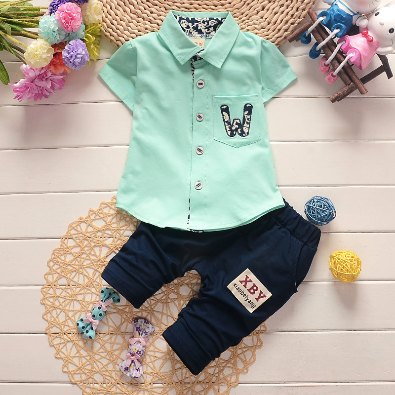 Hot sales summer girls boys children clothing set baby clothes short-sleeved shirt pant kids letter casual sets