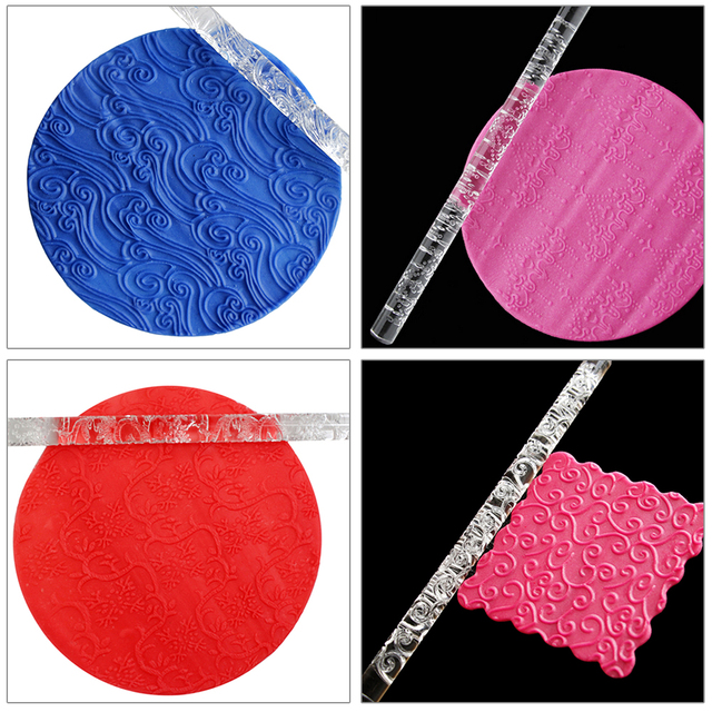 16cm Embossing Rolling Pin Cake Decorating Tools Pizza Pasta Fondant Roller Tools Transparent Acrylic Rolling Pin