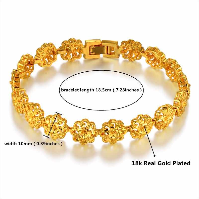Bracelet Women Jewelry Wholesale Bracelt Female 18.5cm Gold Color Flower Charm Bracelets & Bangles Braslet 2017