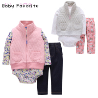 Baby Favorite 2018 New Spring Design Baby Girls Clothes Sets Newborn 3 Pcs Lot Pink Gray