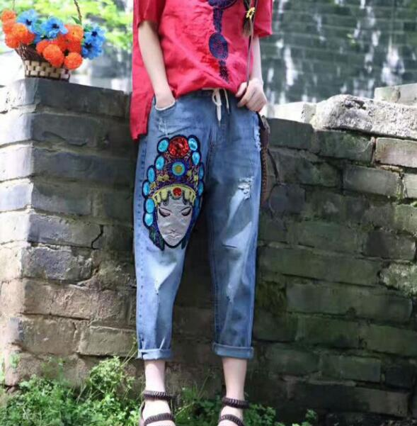 National wind embroidery face sequins Denim Calf-length jeans pants 2017 summer mori girl national wind embroidery lace up neck dress
