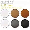 Alta calidad 1.67 índice gris/marrón fotocromático lente de prescripción de lentes de color gris lentes opticos lentille de