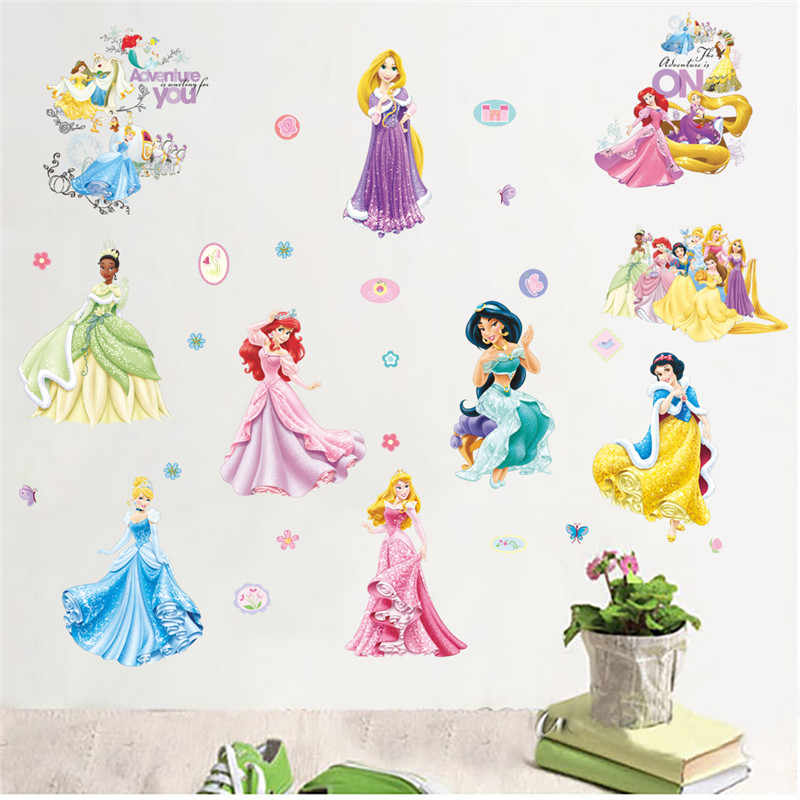 Mermaid Princess Dancing Wall Stickers For Kids Room Decorations Nursery Children Bedroom Decor PVC