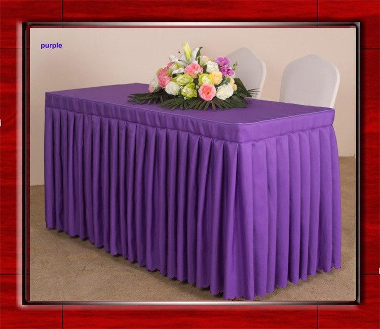 4feet 6feet 8feet 100 Polyester Plain Table Skirt Pleated