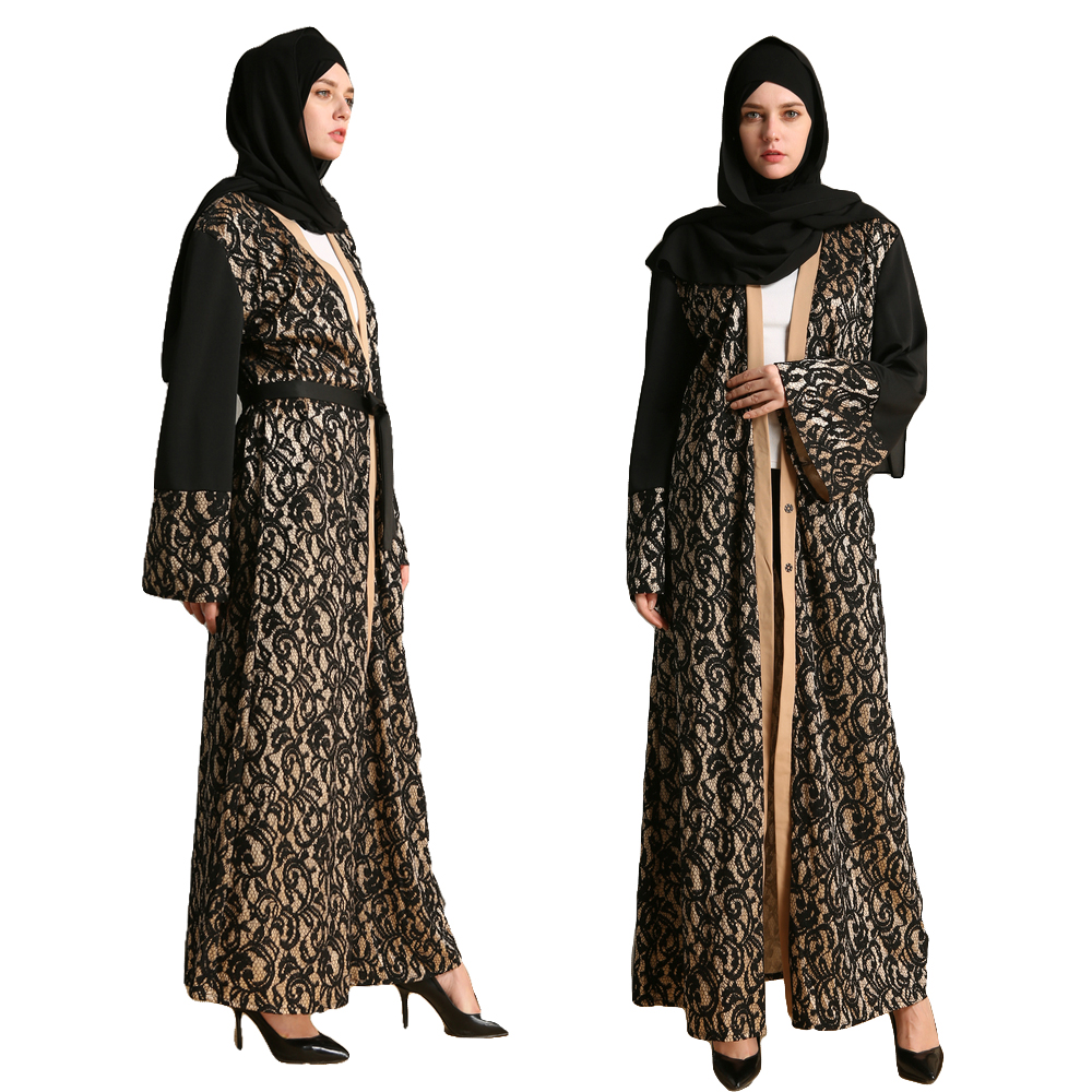 Fashion Muslim Abaya Vestidos Open Cardigan Patchwork Robe Maxi Dress Women Islamic Dubai Turkey Instant Hijab Arab Lace Clothes