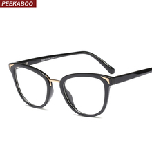 Peekaboo модные очки с прозрачными линзами женские черные леопардовые кошачьи глаза очки для женщин Оптические пружинные петли