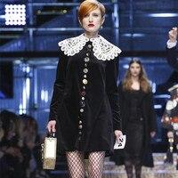 Luxury Designer Brand Dress for Women Romantic Classic Lace Trim Peter Pan Collar Diamond Buttons Loose Velvet Dress Black